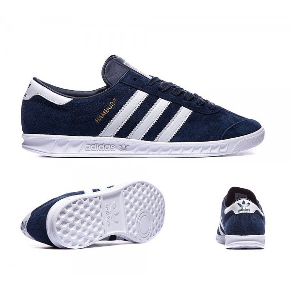 Adidas Originals Hamburg Trainer Navy White and Gold Bequem