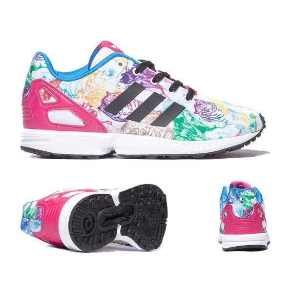 Adidas Originals Infant ZX Flux Print Trainers Mul...