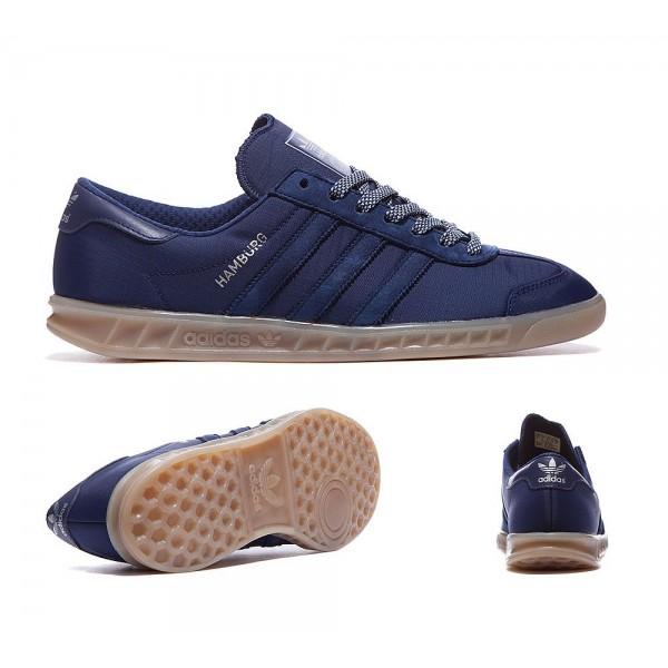 Adidas Originals Hamburg Tech Trainer Dunkelblau und Gum Spezialangebot