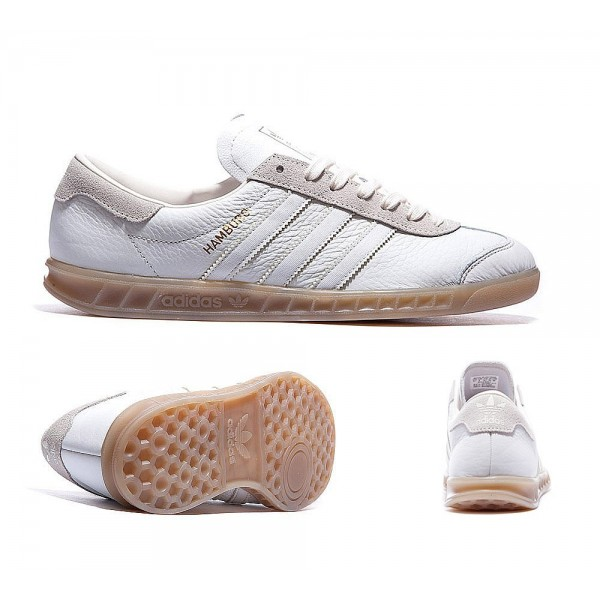 Adidas Originals Hamburg Lederturnschuhe Weiß und...