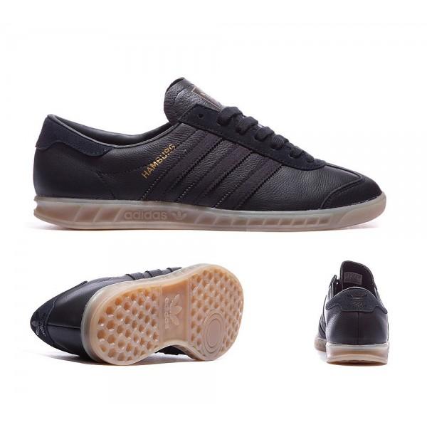 Adidas Originals Hamburg Lederturnschuhe Schwarz und Gum Verkäufe