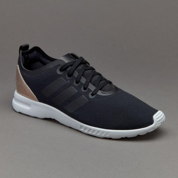 Adidas Damen ZX Flux Glatte Damenschuhe Kernschwar...