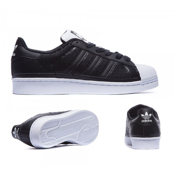 Adidas Originals Damen Superstar SequTrainers Carbon Black und Flat White Billig kaufen