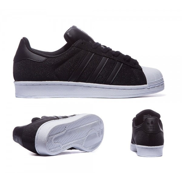 Adidas Originals Damen Superstar Glitter Sneaker Schwarz Outlet