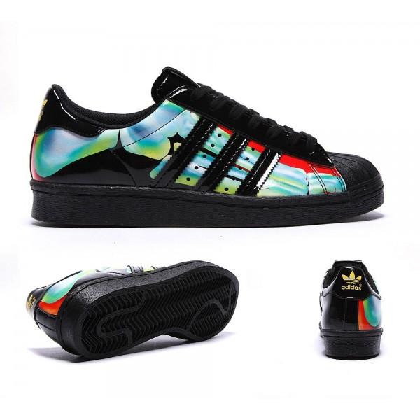 Adidas Originals Damen Superstar der 80er Jahre Rita Ora Sneaker Schwarz und Bright Yellow Marken