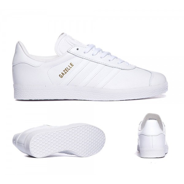 Adidas Originals Damen Gazelle Sneaker Weiß und Gold-Metallic Günstig kaufen