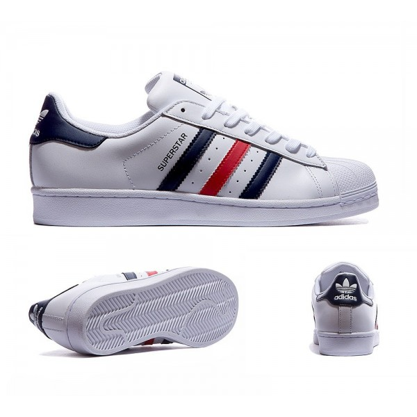 Adidas Originals Superstar-Trainer weiß Navy und ...